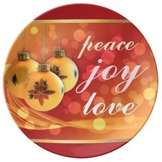 Red Gold Peace Joy Love Cheerful Christmas Porcelain Plate - peace joy and love, happy blessings on a holiday plate with three hanging ornaments and pretty spangles of light, red background color and gold border - perfect for Christmas parties and other entertaining, or cheerful seasonal decor.