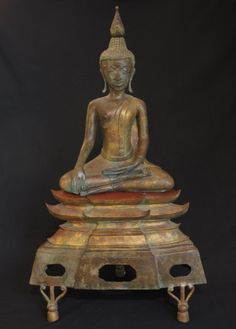 Old Laos Buddha from Laos, made of Bronze
