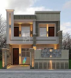 ideas for hat design modern Bungalow House Design, House Front Design, Modern House Design, Modern House Plans, Small House Plans, Modern Architecture House, Architecture Design, 10 Marla House Plan, Narrow House