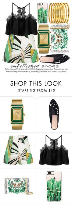 """MAGIC SLIPPERS: EMBELLISHED SHOES #3"" by noraaaaaaaaa ❤ liked on Polyvore featuring Tory Burch, KG Kurt Geiger, Emilio Pucci, Casetify, Kenneth Jay Lane, Spring, Embellishment and embellishedshoes"