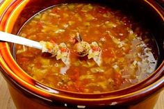 Kalyn's Kitchen®: Slow Cooker Recipe for Cabbage Soup with Tomatoes, Chicken-Garlic Sausage, and Parmesan/Delicious! I will make again.