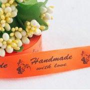 ТОЛЬКО У НАС! Лента сатин апельсин Handmade 45*15мм/10шт