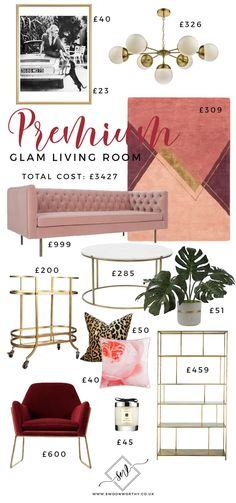 1 Glam Living Room - 3 Different Budgets Modern Decoration modern glam decor Glam Living Room, Glam Room, Living Room Sets, Living Room Designs, Living Room Decor, Home Living, Luxury Living, Living Area, Boho Glam Home