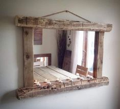 Rustic Farmhouse Gray X-Back Bookcase Rustic Mirrors, Wood Mirror, Diy Mirror, Pallet Furniture, Rustic Furniture, Home Furniture, Furniture Design, Rustic Home Offices, Rustic Wood Decor
