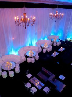 A chic & sophisticated lounge furniture setup for a party! Perfect way to keep everything organized & offer plenty of seating at a Bar Mitzvah or Bat Mitzvah.