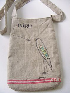 Embroidered linen bag. Charming! (Looks like you could get one or two out of a single old trouser leg..
