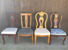 Custom Painted Chairs Mismatch Dining by ThePaintedLdy on Etsy Kitchen Chairs, Dining Chairs, Spindle Chair, Shabby Chic Chairs, Restaurant Tables And Chairs, Painted Chairs, Vintage Chairs, Custom Paint, Country Kitchen