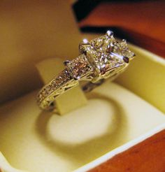 1.05ct Princess Cut Engagement Ring. It doesnt have to be this big, but a girl can dream