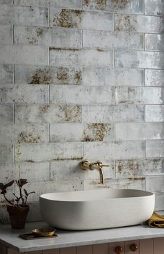 Our Camden White Ceramic Tile is perfect for walls. Buy this stunning rustic, industrial ceramic tile online or visit one of our UK showrooms. White Bathroom Tiles, White Tiles, Wall Tiles, Ceramic Tile Bathrooms, Master Bathroom, Mandarin Stone, Pedestal Tub, Outdoor Tiles, Stone Kitchen
