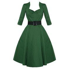 Green Polka Dot 50s Vintage 3 4 Sleeve Flared Swing Dress