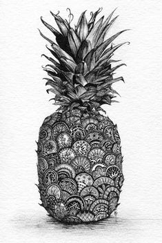 Pineapple. Print of Pen and Ink with Graphite. Zentangle inspired.