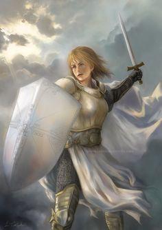 Fantasy Art Warrior Knight Woman Armor of God by bytheoakArt