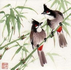 """Spring Morning"" - Original Fine Art for Sale - © Jinghua Gao Dalia Sumi E Painting, Chinese Painting, World Birds, 4th Grade Art, Art Society, Daily Painters, China Art, Old Art, Art Plastique"
