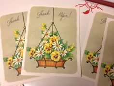 Adorable little thank you note cards yellow pansies and white daisies in a hanging basket by EvelynsCornerCabinet, $6.75