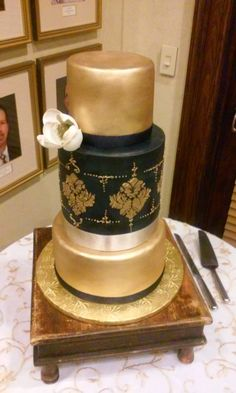 Midnight Blue and Gold Wedding Cake