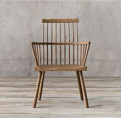 RH's 18th C. Wide Comb Back Windsor Armchair:Our iteration of an early 18th-century Windsor chair keeps the clean lines and spindle-turned back of the original but reimagines it for modern living with generous proportions and a comfortable, contoured saddle seat.