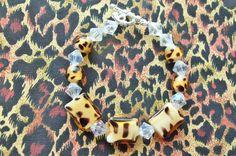 """Bracelet Animal Print Beads Clear AB Czech Crystals 7"""" SP Bracelet J&K ORIGINALS #JKOriginals #SingleBracelet"""