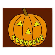 Trombone Halloween Pumpkin Poster - halloween decor diy cyo personalize unique party