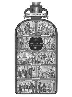 The History of Gin Illustrated by Steven Noble on Behance Gin History, Please To Meet You, Scratchboard, 16th Century, Middle Ages, Flask, Liquor, Perfume, Behance