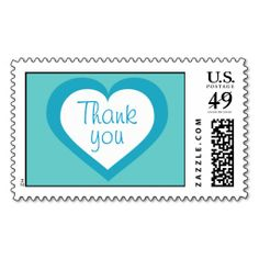 Thank you turquoise heart postage stamp.  Great thank you note postage for wedding, baby boy shower or baptism. #heartwarestore  => http://www.zazzle.com/thank_you_custom_turquoise_heart_postage_stamps-172084124940597154?CMPN=addthis&lang=en&rf=238590879371532555&tc=pinHPSthankyouturquoiseheart