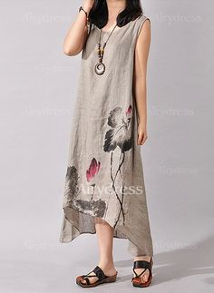 Linen Floral Sleeveless Mid-Calf Vintage Dresses (1031509) @