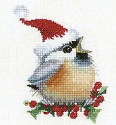 Christmas Chick in Cross Stitch.