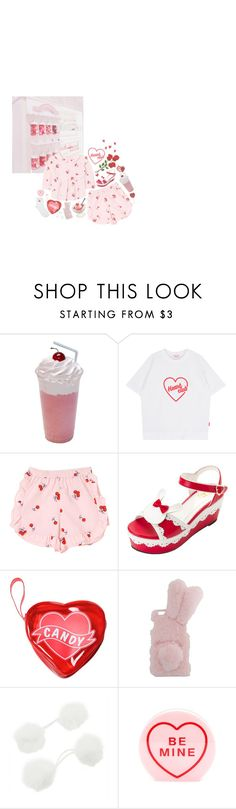 """""""Heart club"""" by bubblegumbae ❤ liked on Polyvore featuring Charlotte Olympia, kawaii, cherry, strawberry and heartclub"""