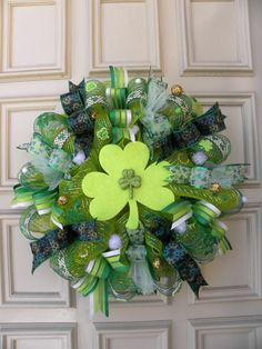 St. Patricks Day Deco Mesh Wreath - Shamrocks - Holiday - Decoration -