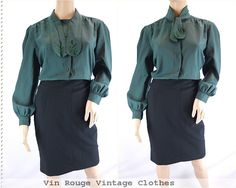 Vintage 1980s Pussy Bow Mad Men Blouse Shirt Emerald Forest Green - Size 14