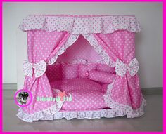HM09 Gorgeous Handmade Pet  Dog Cat Puppy Bed House Kennel  Pink white Dot Made to Order