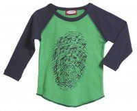 Thumbprint Music Raglan / Elf Green with Navy Blue Sleeves