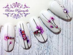 Gelish Nails, 3d Nails, Matte Nails, Manicure Nail Designs, Nail Manicure, Nail Art Designs, Nail Art Wheel, Water Color Nails, Nail Stencils