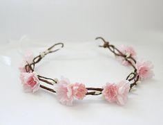 ON SALE. Blush Pink Floral Crown. cherry blossom, Woodland. Rustic. Spring, Flower Crown, Bridal Headpiece, head wreath