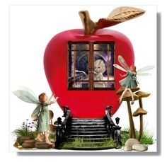 Red Apple by wulanhasibuan on Polyvore featuring art