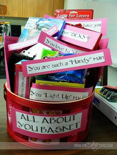 All about you basket - she typed a list of 101 reasons she loved her husband and bought silly little gifts to go with some of the reasons. You could do this for a friends birthday too!