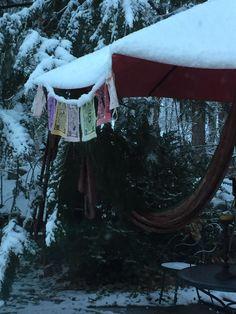 Winter flags in Naramata, B.C.
