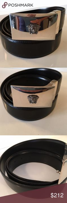 VERSACE BLACK LEATHER BELT 100% AUTHENTIC VERSACE BLACK LEATHER SIZABLE BELT.  STUNNING CONDITION AND 100% AUTHENTIC. THIS IS SO STYLIST AND RICH LOOKING. PURCHASED AT THE MILAN VERSACE BOUTIQUE.  IT IS CURRENTLY A SIZE 105/42 BUT THE BUCKLE CAN BE REMOVED AND THE STRAP MADE SMALL IN MINUTES TO ACCOMMODATE ANY SIZE SMALLER Versace Accessories Belts