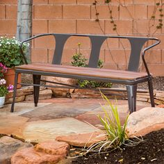 A wood slat seat and metal frame give this sturdy bench a stylish outdoor feel.  The bench features a solid Eucalyptus seat and a scratch- and mar-resistant powder coat finish appropriate for outdoor use.