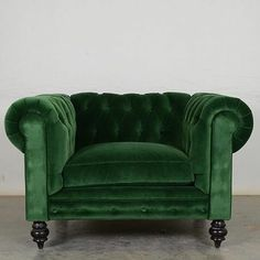 #fresh + #green!  a pretty new #velvet #chesterfield chair, fresh from our NC factory. #madeinusa