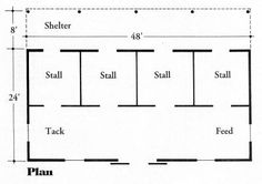 Horse Barn Plan, Maybe with indoor on other side of tack feed area