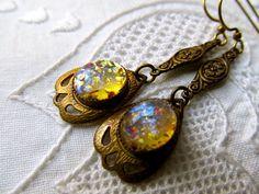 Vintage Fire Opal Earrings Art Nouveau Earrings 1920s Deco Dangle Earrings- Gold Opal Earrings