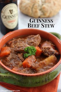 Guinness Beef Stew- Hearty Stew with a hint of Guinness flavor. The flavors are AMAZING! Perfect for St. Irish Recipes, Soup Recipes, Beef Recipes, Cooking Recipes, Chowder Recipes, Guinness Beef Stew, Soups And Stews, Holiday Recipes, Favorite Recipes