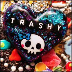 Trashy  Resin Halloween Skull Necklace  SALE by stoopidgerl, $20.00