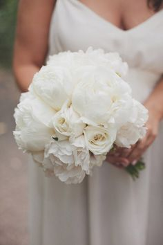 monochromatic bouquet filled with peonies and roses  Photography by http://katemacpherson.com, florals by http://www.cartierforflowers.co.nz/