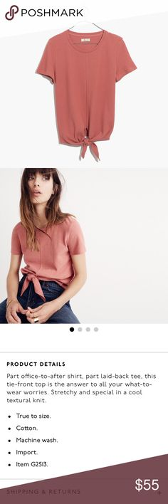 Madewell Modern Tie Front Top SOLD OUT Madewell Modern Tie Front Top in Rosewood Pink! Brand new with tags. No stains, flaws or defects. Price is firm unless bundled. Madewell Tops Tees - Short Sleeve