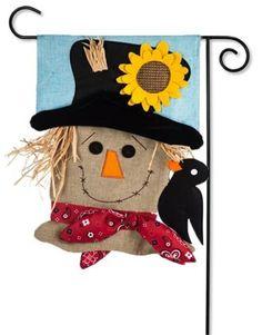 Scarecrow Season Burlap Garden Flag - x - Evergreen Scarecrows For Garden, Fall Scarecrows, Fall Garden Flag, Burlap Garden Flags, Vintage Fall, Fall Halloween, Evergreen, Accent Decor, Crochet Hats