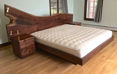 Natural edge walnut bed set with solid by AppalachianJoinery