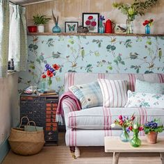 country living room with bird motif wallpaper housetohomecouk