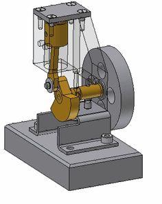 Bild des Druckluftmotors Mechanical Projects, Mechanical Engineering Design, Mechanical Art, Mechanical Design, Motor A Vapor, Mini Steam Engine, Autocad Isometric Drawing, Cad 3d, Engine Working