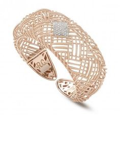 Roberto Coin rose gold cuff bracelet with diamonds